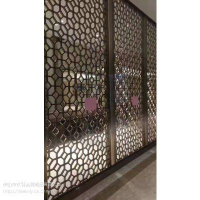 江西别墅拉丝钛金铝板雕刻屏风