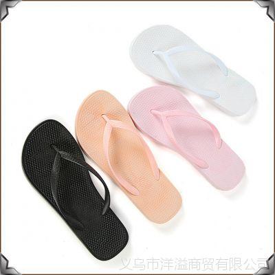 夏季新款居家浴室软底防滑女式凉拖 简约纯色室内拖鞋女士人字拖