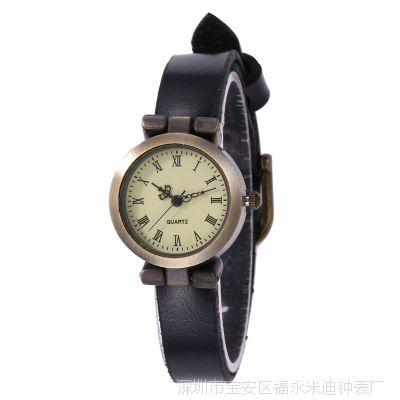 复古牛皮手表 罗马数字女士手表 朋克铆钉缠绕式女表 复古手表