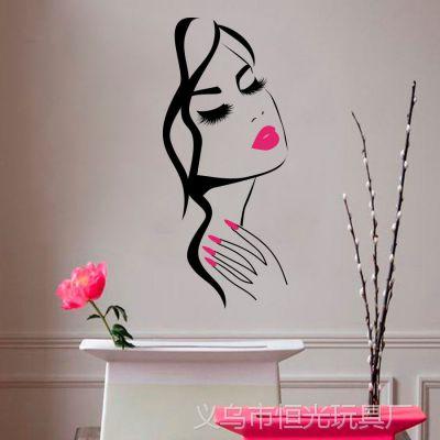 个性创意新款美女头像精雕贴画客厅卧室背景墙贴纸厂可移除壁画
