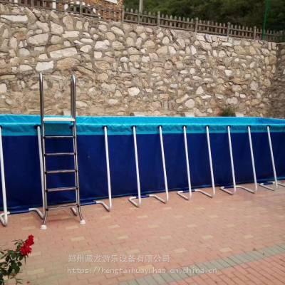 夹网钢架游泳池游乐场专用 支架游泳池生产厂家 游乐园钢架水池铁架泳池