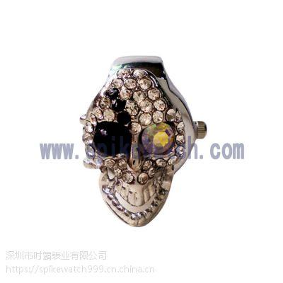 SPIKE优质手表厂家供应合金促销礼品骷髅头个性戒指石英手表