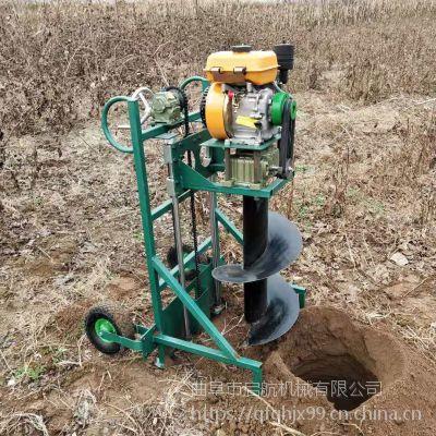手推式小型汽油挖坑机 多功能植树打坑机 启航地钻打眼机价格