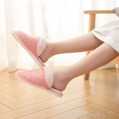 日式新款防水保暖男女春秋冬情侣室内家居防滑木地板加厚棉拖鞋