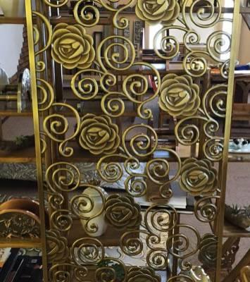 锢雅精雕镜面钛金铝板镂空雕花屏风,铝艺钛金花格