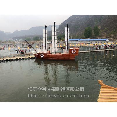 厂家直销木船海盗船纯手工景观船木质装饰海盗船