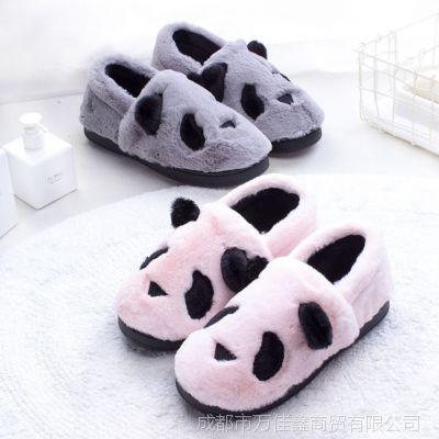 新款包跟棉拖鞋 卡通熊猫冬季室内居家防滑地板拖鞋毛绒厚底情侣