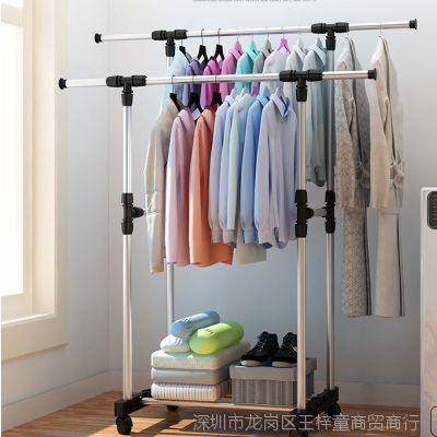 韩式晾衣架落地升降伸缩折叠室内家用双杆式晒衣架简易阳台凉架子