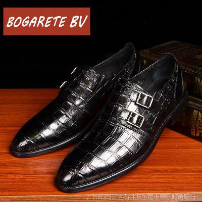 广州皮鞋一件批发商务正装皮鞋男春夏季真皮尖头魔术贴套脚单鞋子