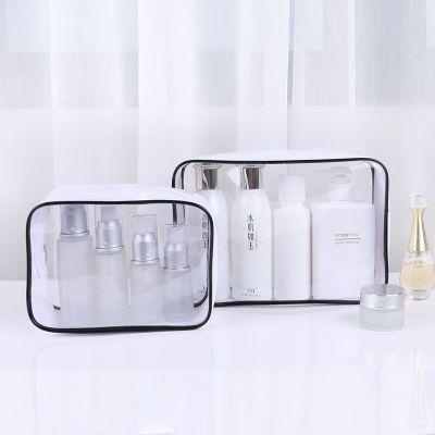易贝欧美简约透明时尚化妆包批发 pvc热压防水旅行化妆品收纳包 现货便携户外环保洗漱包