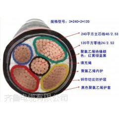 供应阳谷齐鲁牌裸铜线多芯交联塑料绝缘聚氯乙炔护套电力电缆 YJV 3*185+2