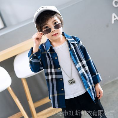韩版儿童衬衫2018秋季新款男童格子衬衫长袖男孩花衬衣大童上衣秋