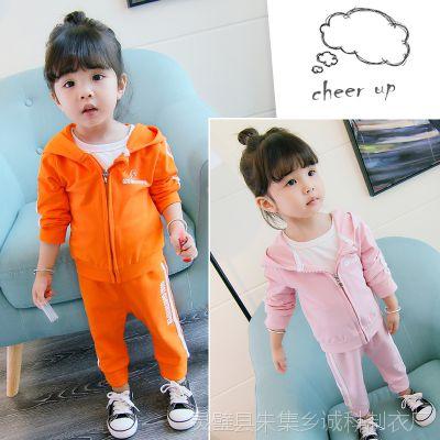 新款厂家直销女童卡通纯棉童装一件代发 两件套春季休闲儿童套装