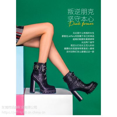 Jeffrey Campbell2018秋冬新品简约圆头黑色系带粗跟高跟短靴女鞋
