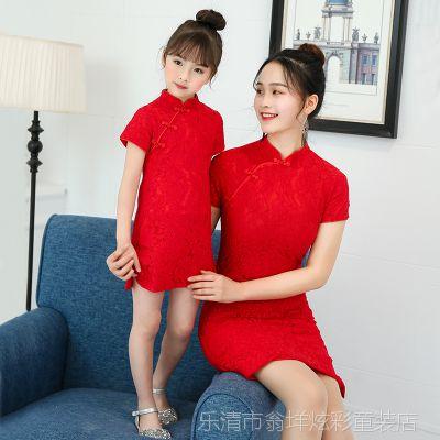 亲子装旗袍裙女夏装连衣裙子新款母子母女装短袖蕾丝喜庆红拍摄装