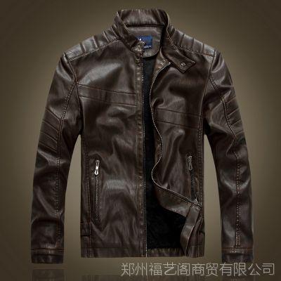 厂家直销  男式皮衣真皮时尚修身机车皮夹克男士秋冬外套加绒做旧