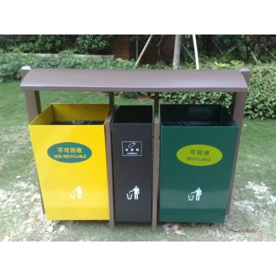 供应广州品兆市政街道钢木塑料垃圾桶