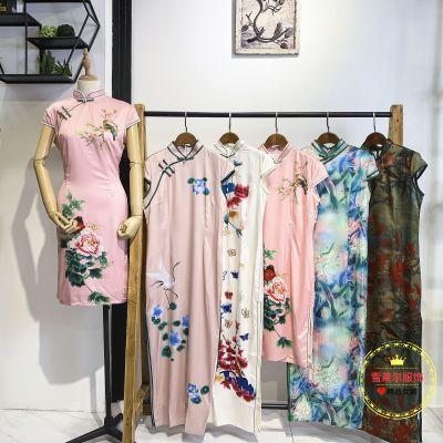 广州歌姿俪尔夏季娣婷短袖修身款旗袍连衣裙厂家直供货源新款组货包