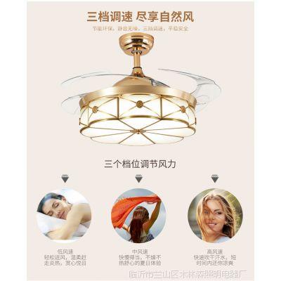 法雕全铜隐形风扇灯欧式美式餐厅吊灯现代简约遥控客厅卧室吊扇灯