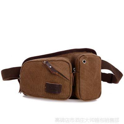 新款潮男腰包帆布时尚百搭斜挎包多功能户外皮质包包其他女包
