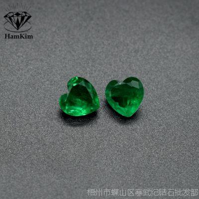 仿哥伦比亚祖母绿心形宝石裸石 珠宝首饰戒指吊坠镶嵌用石爱心形