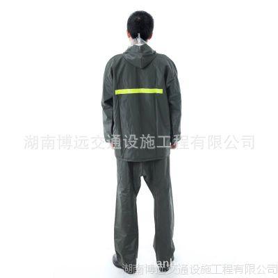 雨衣军绿针织布套装雨衣雨裤加厚防水反光户外园林环卫警示服