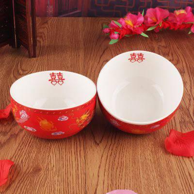 手绘餐具红釉骨瓷龙凤喜碗 红瓷结婚礼品 家用陶瓷饭碗对碗套装