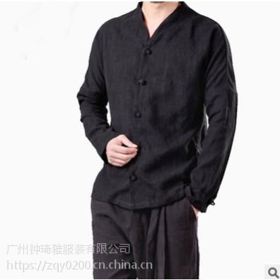 中国风亚麻唐装衬衫男春秋复古盘扣中式棉麻长袖