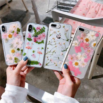 韩风真花滴胶 苹果x手机壳手工iphone7保护套女款6s防摔8plus干花