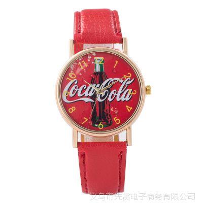 wish爆款可口可乐促销女士礼品皮带手表 时尚创意男女石英手表