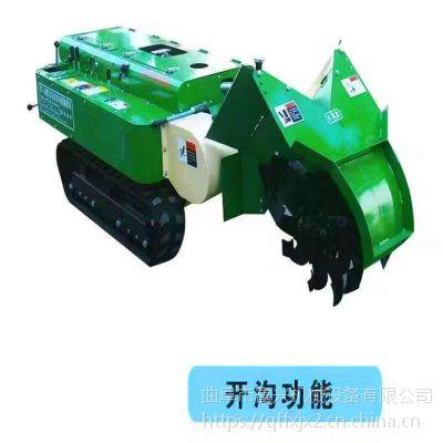 低矮自走式开沟机微耕机富兴-36马力履带式锄草回填机-农用履带式开沟施肥机