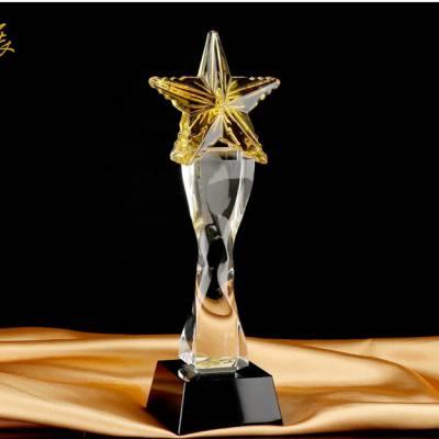 报刊年度表彰奖杯定制 荣誉表彰大会水晶奖牌 延安先进个人奖牌批发