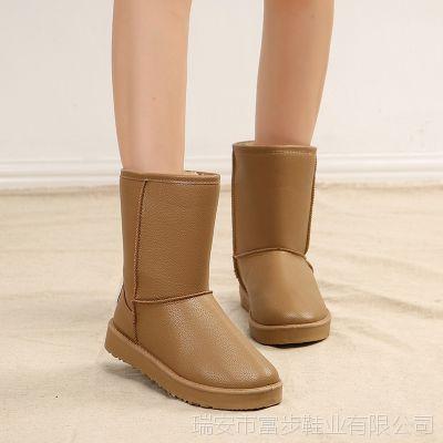 富步冬季热卖中筒皮面雪地靴防水防滑PU棉鞋加厚保暖学生女靴子