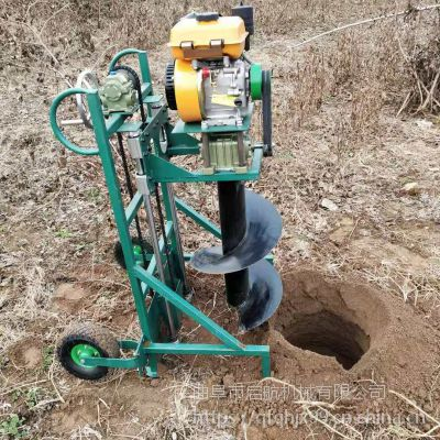 立柱式挖坑机 农用拖拉机带动地钻机 启航厚冰打眼机价格