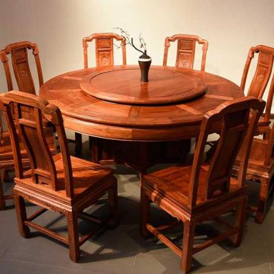 中山刺猬紫檀红木家具 餐桌圆餐台7件套 名琢世家
