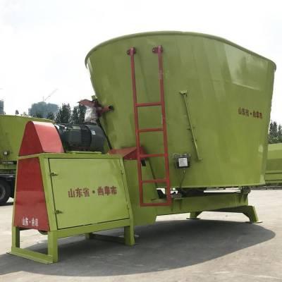 固定式牛羊拌草机 厂家定制12立方TMR搅拌车 粉碎秸秆草料的搅拌机