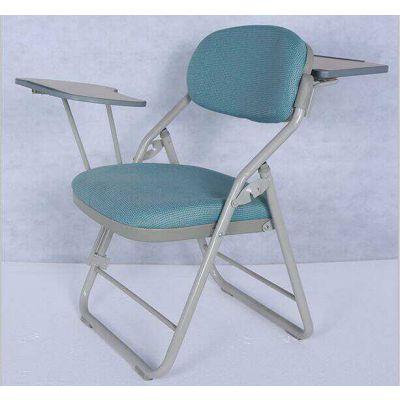 高档出口折叠带写字板椅pu红色教会椅简约礼堂椅医院陪护椅桌椅一体式椅