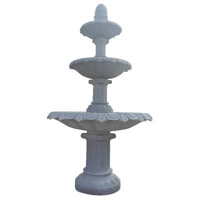 石雕喷泉欧式别墅庭院流水摆件 米黄大理石水钵户外水池景观风水球