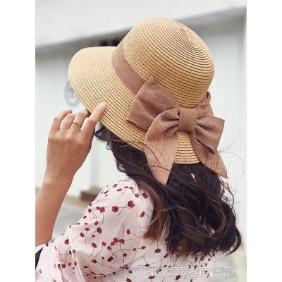 草帽女夏天太阳帽出游小清新韩版百搭大沿防晒帽子夏沙滩遮阳海边