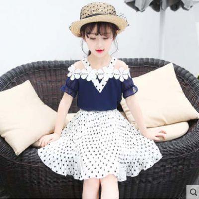 工厂直供女童套装大童雪纺仙女风套裙130-160码