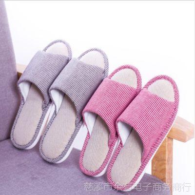 天然细条纹亚麻拖鞋日式情侣男女厚底防滑家居地板凉拖鞋棉拖批发