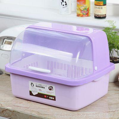 塑料碗柜厨房放碗架沥水架带盖碗筷收纳盒放碗碟架滴水碗盆置物架