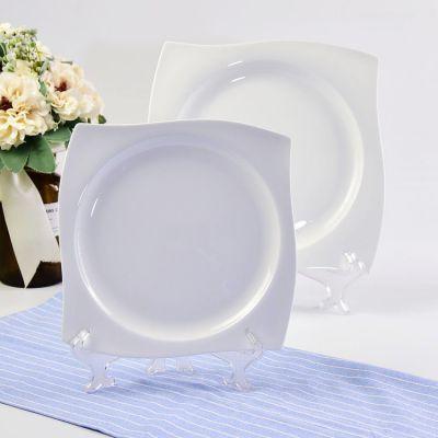 创意纯白餐盘 骨瓷昆仑转角西餐盘 陶瓷餐具蛋糕盘冷菜盘热菜盘