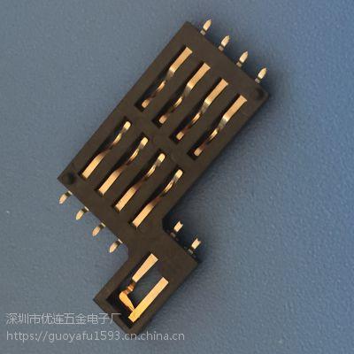 卡座 SIM贴片 10P 8+2 黑色全塑 无外壳 带耳PIN