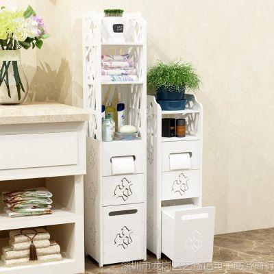 洗手间置物架浴室角架储物柜卫生间马桶厕所落地边柜带垃圾桶边柜
