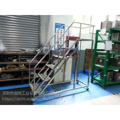 厂家直销货架旁登高卸货梯 1.5米高不锈钢可移动卸货梯 员工登高理货梯惠州生产厂家