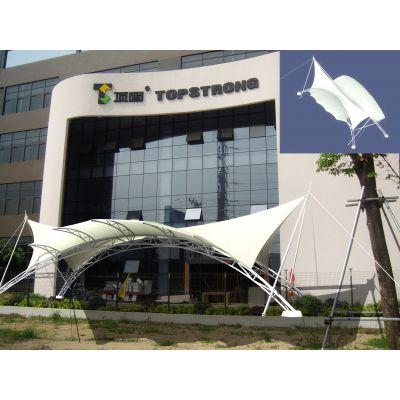 厂家定制商场门头雨棚膜结构设计张拉膜结构出入口遮阳棚安装