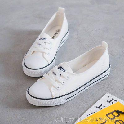 浅口透气帆布鞋女2018夏季新款百搭韩版小白鞋休闲布鞋学生白鞋子