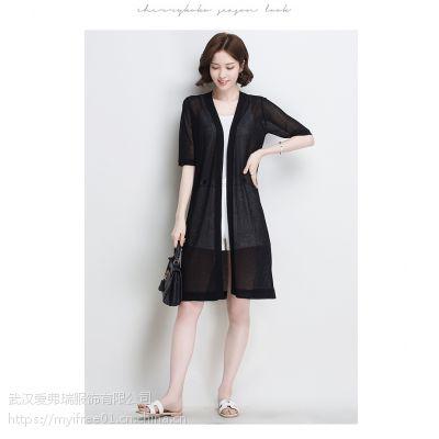 专卖店服装怎么拿货朗斯莉针织镂空外套折扣尾货