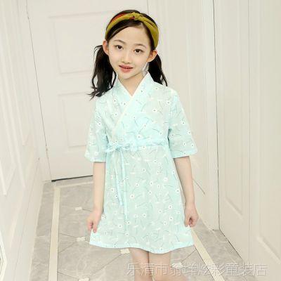 2018夏季新款女童旗袍裙儿童连衣裙女孩汉服中国风复古裙子民族风